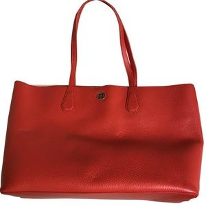 NWT! Tory Burch Large Coral Leather Tote Bag